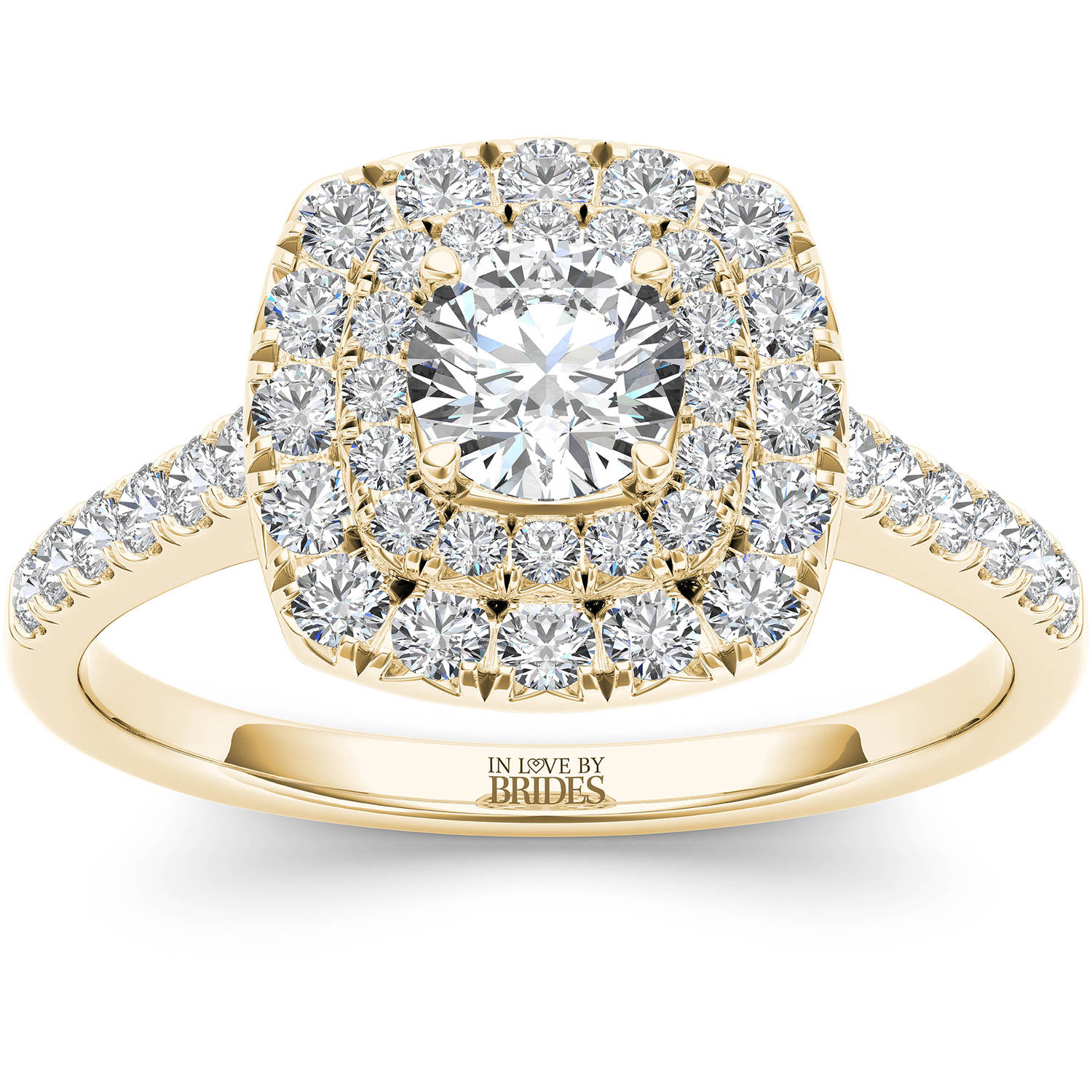 IN LOVE BY BRIDES 1.00 Carat T.W. Certified Diamond Cushion Double Halo 14kt Yellow Gold Engagement Ring