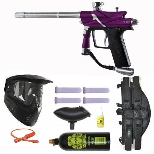 Azodin Blitz 3 Electronic Paintball Marker Gun 3Skull 4+1 Mega Set Purple Silver by