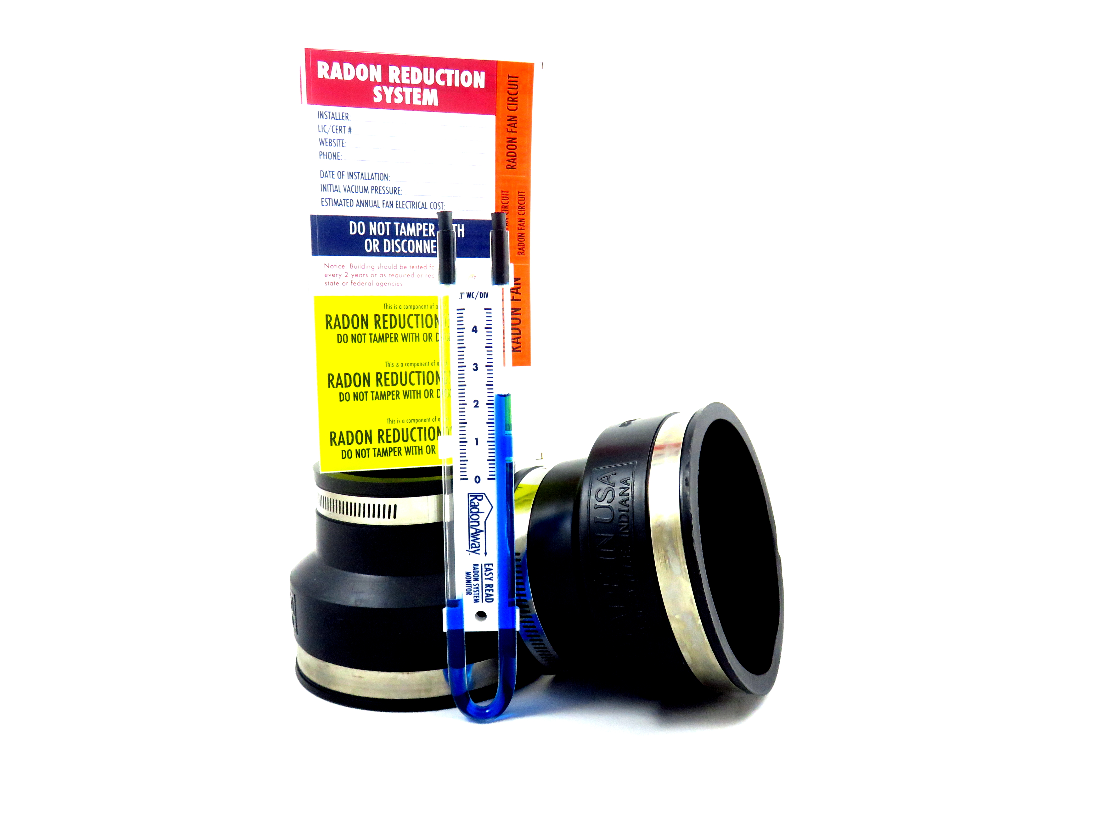 """Radon Fan Install Kit for 4/"""" fan to 3/"""" PVC or 3/"""" fan to 4/""""PVC Black"""