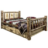 Montana Woodworks MWGCSBFLZPINE Glacier Country Storage Bed with Laser Engraved Pine Design - Full Size