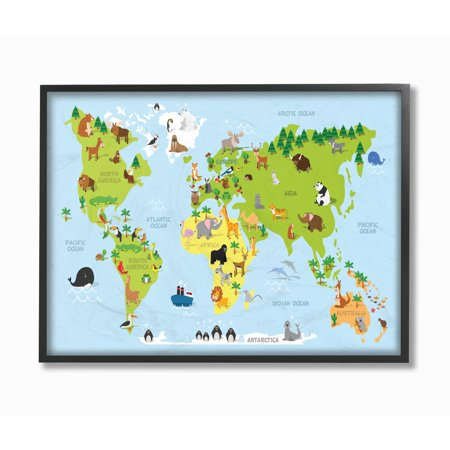The kids room by stupell world map cartoon and colorful oversized the kids room by stupell world map cartoon and colorful oversized framed giclee texturized art gumiabroncs Gallery