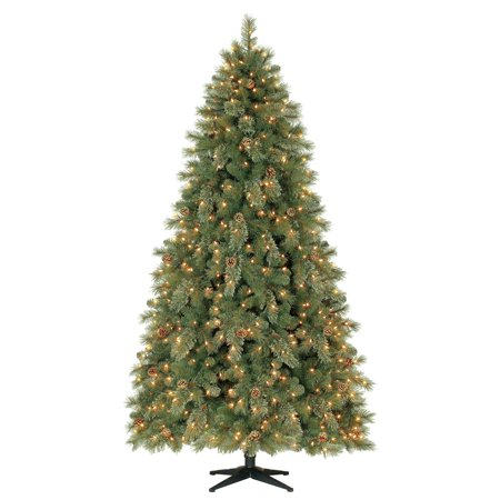 Holiday Time Pre-Lit 7.5' Carson Pine Artificial Christmas Tree, Clear-Lights