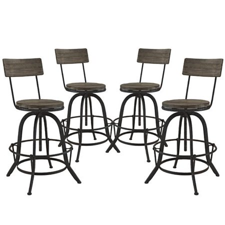 Modway Furniture Procure Bar Stool Set Of 4 Brown Eei 1609 Brn