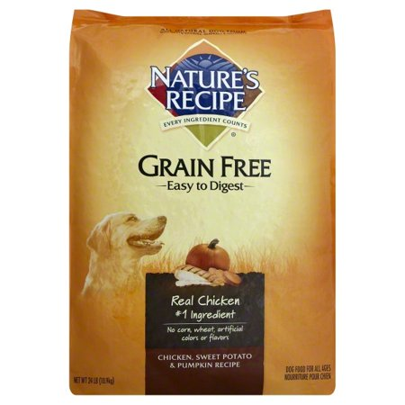 Nature's Recipe Grain Free Easy to Digest Chicken, Sweet Potato & Pumpkin Recipe Dog Food, 24-Pound for $<!---->