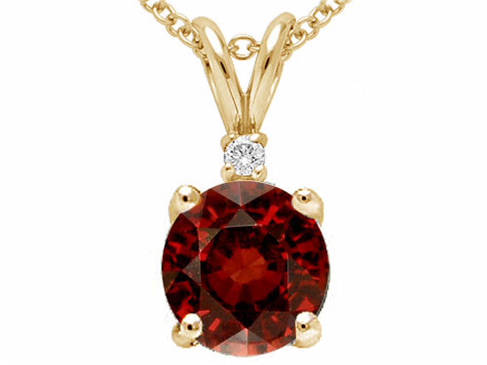 Tommaso Design Round 6mm Genuine Garnet Pendant Necklace by