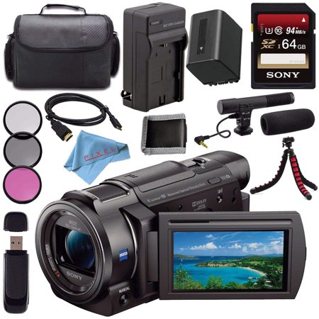 Sony FDR-AX33 4K Ultra HD Handycam Camcorder + Rechargable Li-Ion Battery + Charger + Sony 128GB SDXC Card + Carrying Case + Flexible Tripod + HDMI Cable + Card Reader + Fibercloth