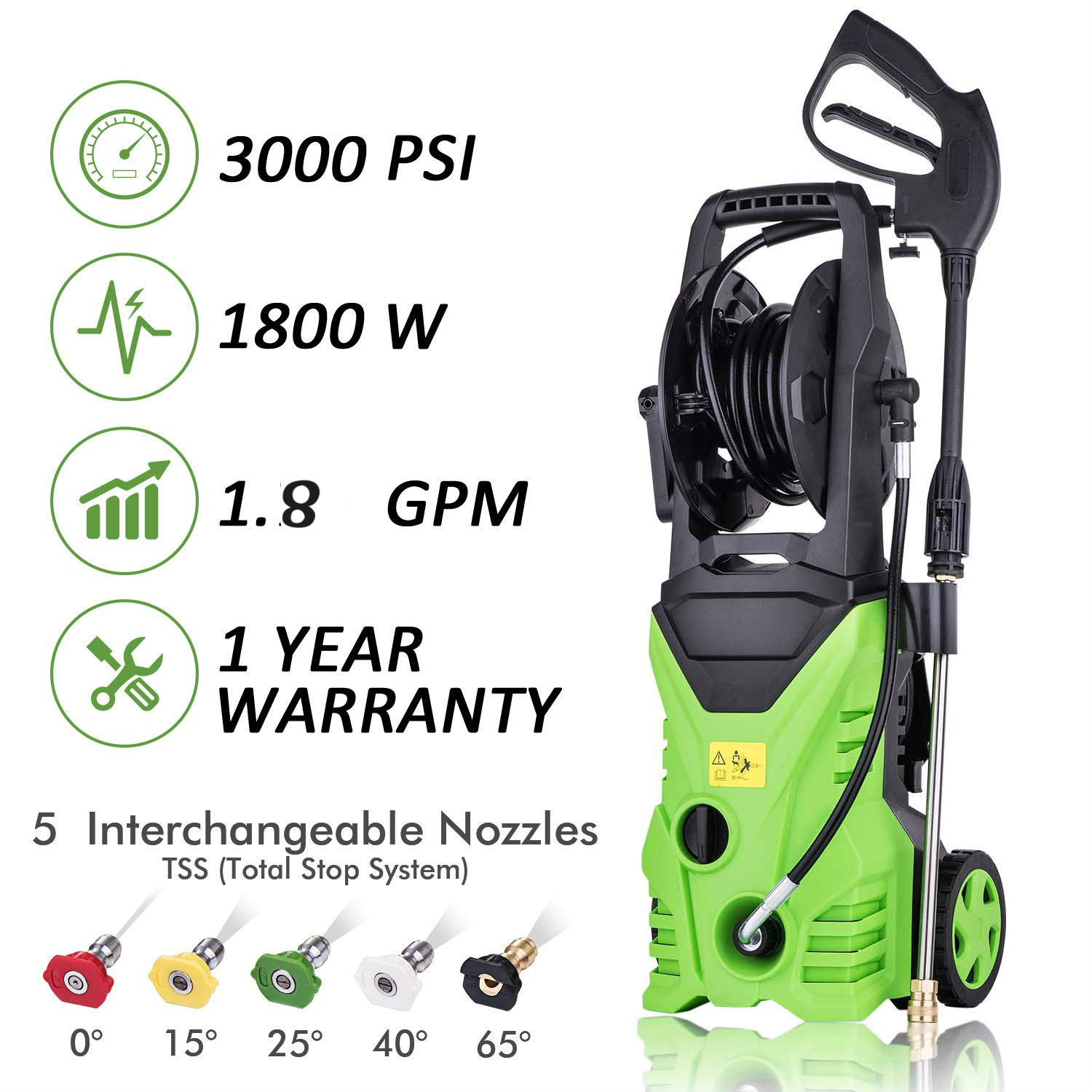 Hifashion Universal Electric Pressure Washer On Sale Soap 1800W 3000 PSI 1.7 GPM with Power Hose Nozzle Gun and 5 Quick-Connect spray tips