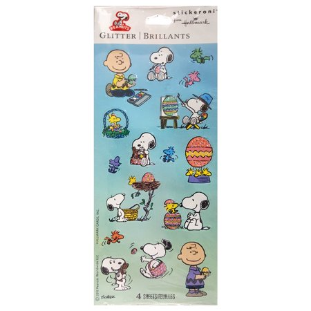 Hallmark Stickeroni Snoopy Peanuts & Gang Glitter Easter - Easter Snoopy