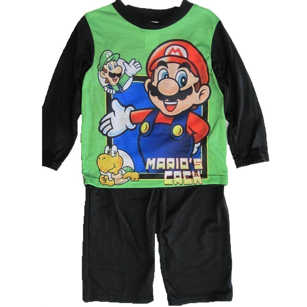 Little Boys Green Cartoon Inspired Long Sleeved 2 Pc Pajama Set 4-6