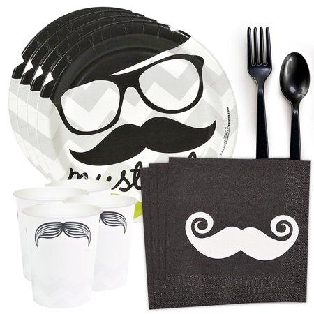 Mustache Party Standard Tableware Kit (Serves 8)