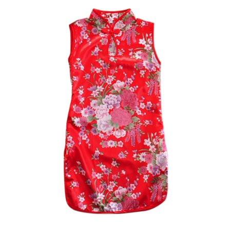 Satin Cheongsam Dress (BOBORA Elegent Kids Girls Peony Print Qipao Sleeveless Chinese Cheongsam Dresses)