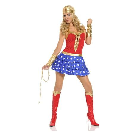 Seven Til Midnight Sexy Wonder Superhero Comics Woman Halloween Costume (Days Til Halloween)
