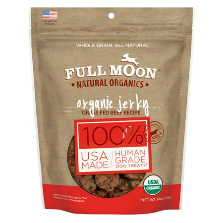 Full Moon All Natural Human Grade Dog Treats, Beef Jerky, 14 Ounce