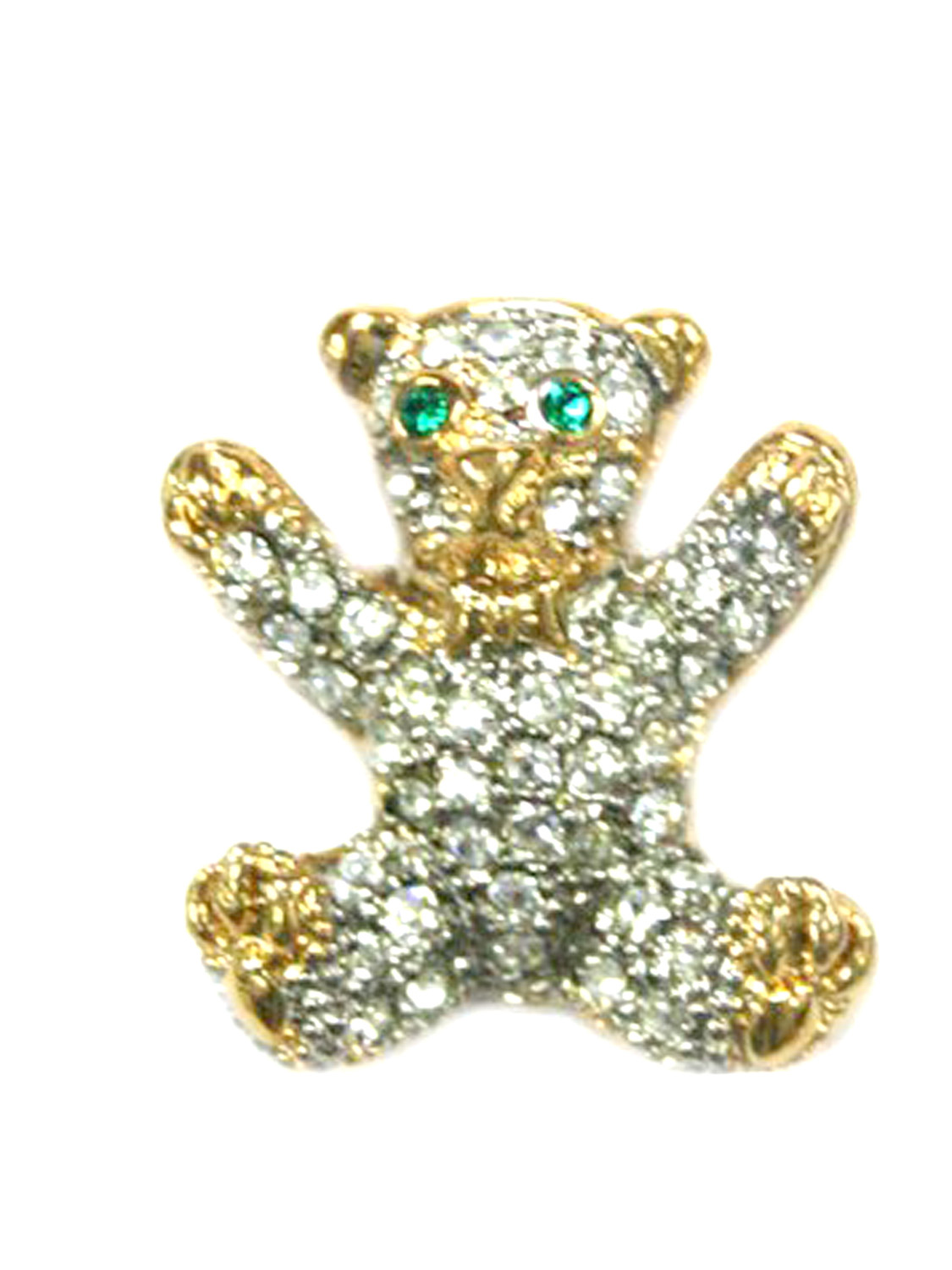 Gold Tone Open Arms Bear Brooch Pin with Rhinestones by