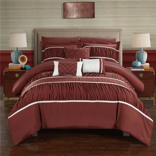 Chic Home CS2122-US Blanche Pleated & Ruffled Bed in a Bag Comforter Set with Sheets - Brick - Queen - 10 Piece