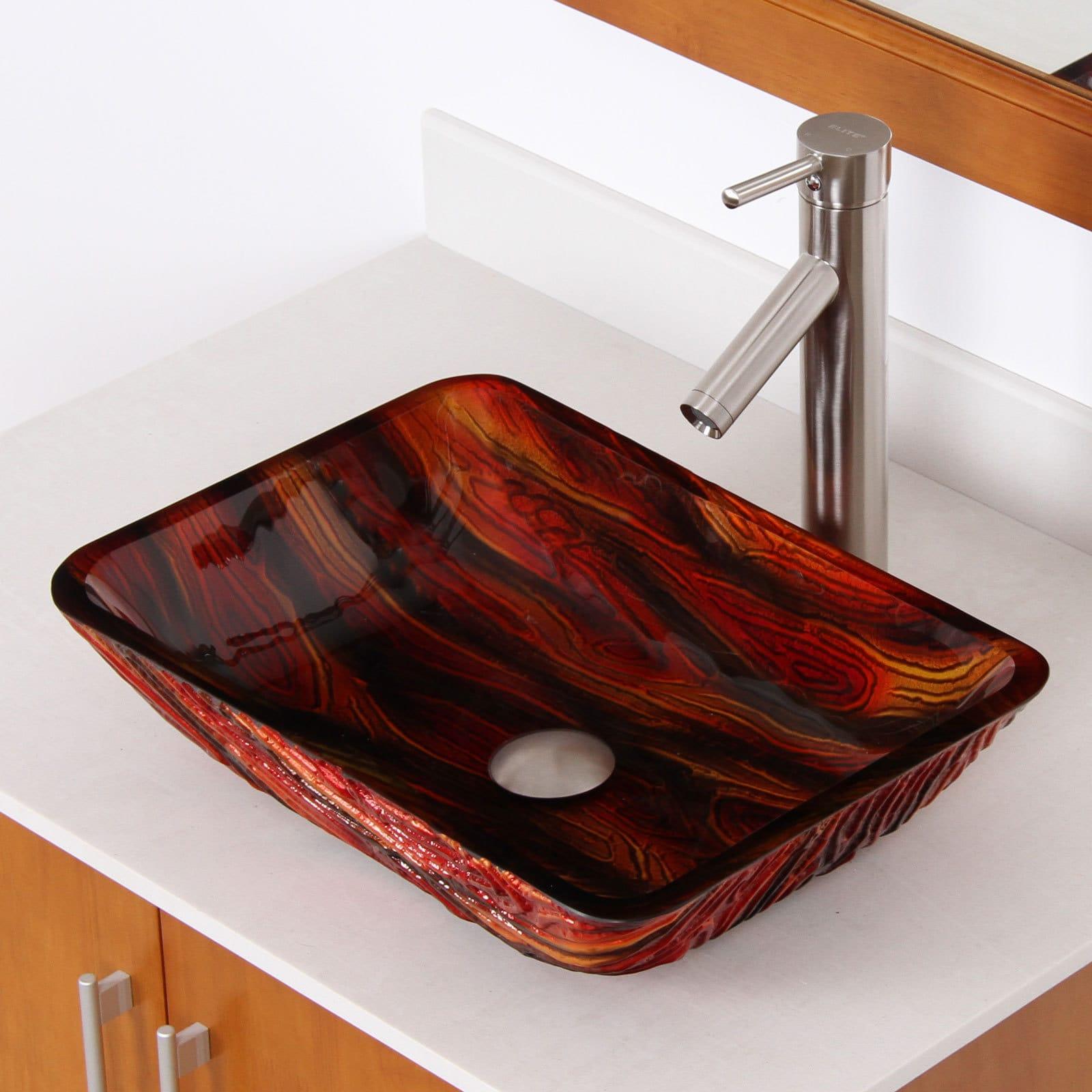 Elite  Lava Rock Rectangle Tempered Glass Bathroom Vessel...