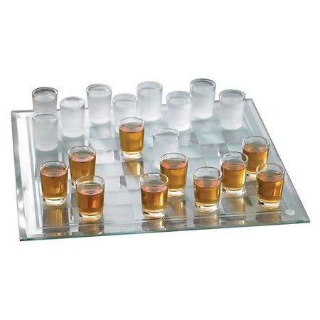 Crystal Clear Shot Glass Checkers Bar Game