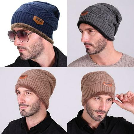 Men Women Winter Skull Knit Slouchy Beanie Fur Warm Baggy Wool Cap Hat Wool Skull Cap