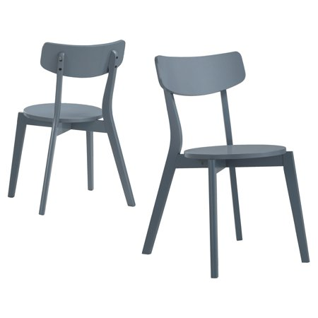 Roundhill Roma Contemporary Gray Wood Dining Chairs, Set of 2