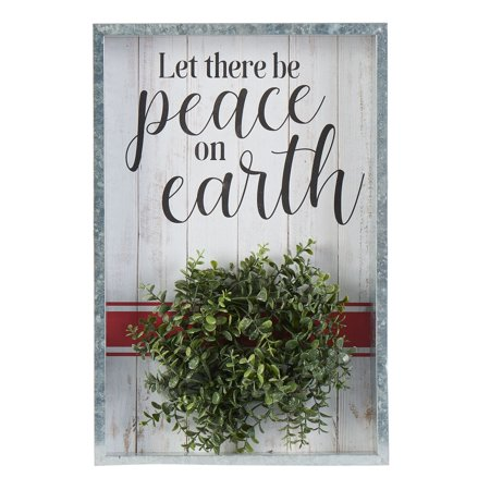 """Holiday Time Let There Be Peace on Earth Hanging Shadowbox Sign Decoration, 12"""" x 18"""""""