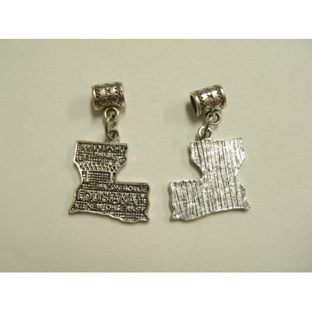 2 Beads - Louisiana State Map Dangle Silver European Bead Charm T0026
