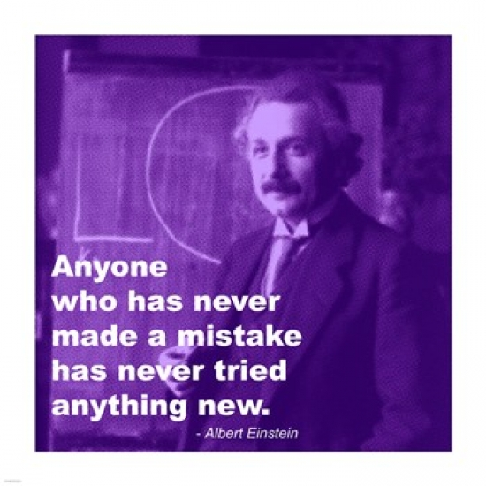 Einstein Try Something New Quote Poster Print (14 x 14)