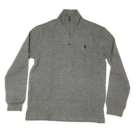 Polo Ralph Lauren Men's Half Zip French Rib Cotton Sweater (Large, Winter GreyNavy Pony)