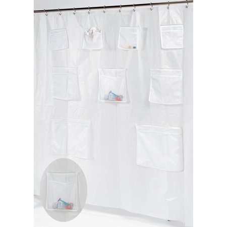 Pockets PEVA Shower Curtain In Super Clear
