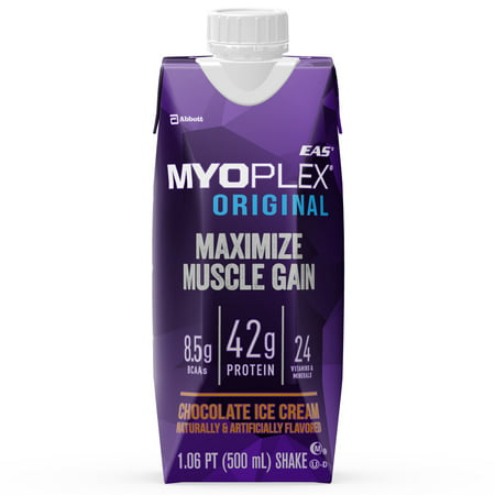 (EAS Myoplex Original Ready-To-Drink Protein Shake, Chocolate Ice Cream, 16 fl oz, 12 Count)
