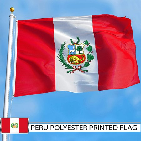 G128 - Peru Peruvian Flag 3x5 ft Printed Brass Grommets 150D Quality Polyester Flag Indoor/Outdoor - Much Thicker and More Durable than 100D and 75D