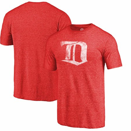 Detroit Red Wings Distressed Throwback Primary Logo Tri-Blend T-Shirt - Red
