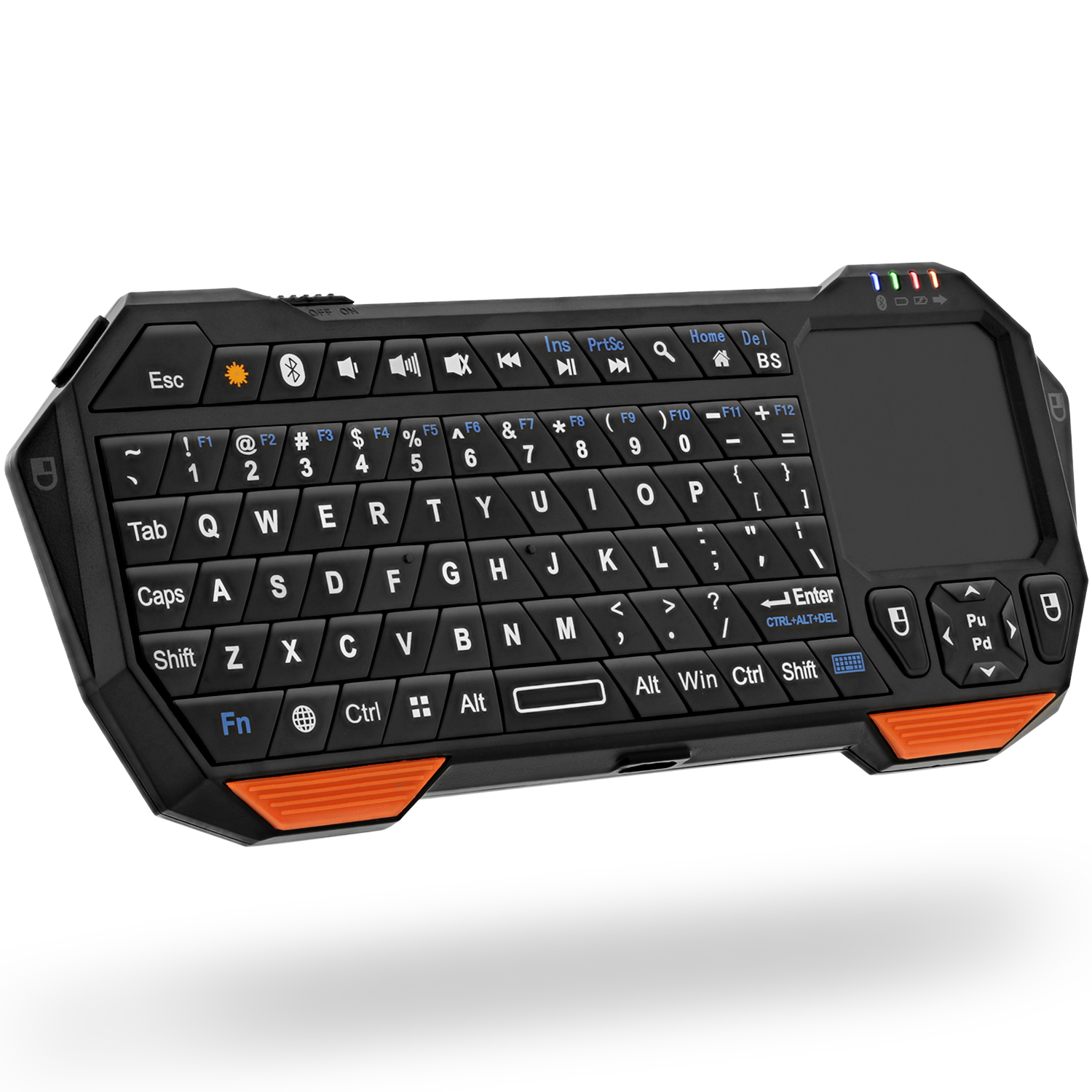 Fosmon Portable Lightweight Mini Wireless Bluetooth Keyboard Controller (QWERTY keypad) with Built-In Touchpad for Apple, Android, Windows Smartphones, Tablets, PS4, Laptop, Notebook (Black & Orange)