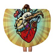 NUDECOR 60 inch Round Beach Towel Blanket Music in The Heart Musical Orchestral Instruments Comic Cartoon Travel Circle Circular Towels Mat Tapestry Beach Throw