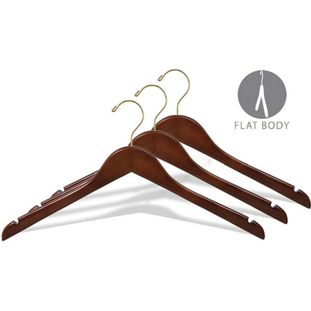 Wood Top Hanger, Box of 25 Space Saving 17 Inch Flat Wooden Hangers w/ Walnut Finish & Brass Swivel Hook & Notches for Shirt Jacket or Dress by International Hanger