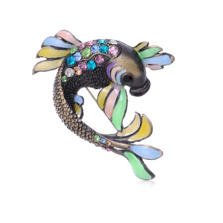 Colorful Czech Crystal Rhinestone Enamel Painted Koi Fish Fashion Brooch Pin