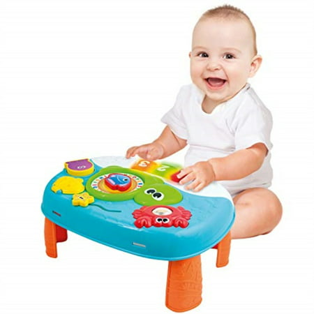 Activity Table for 1 Year Old and Up. 2-in-1 Baby Activity Center. Interactive Learning Toy Piano with Fun Ocean Characters