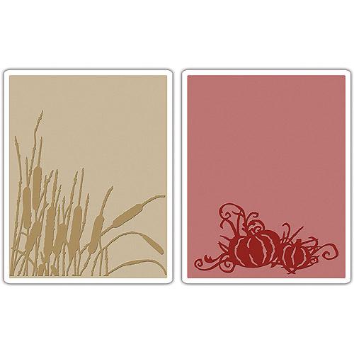 Tim Holtz Alterations Texture Fades Embossing Folders, Cattails & Pumpkin Patch