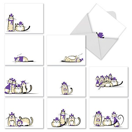 'M2966 PURPLE PURRS' 10 Assorted Thank You Note Cards Featuring Sweet And Sassy Kitty Friends Dressed in Purple with Envelopes by The Best Card Company