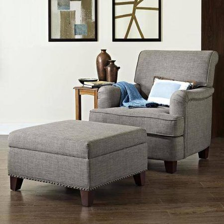Grayson Linen Rolled Top Club Chair with Nailheads with Square Ottoman, Multiple Colors
