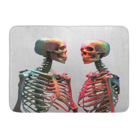 Mgt Body (GODPOK Anatomy Human Couple of Polygonal Skeleton in Rainbow Color with Wireframe Edge on Bright Abstract Body Rug Doormat Bath Mat 23.6x15.7 inch)