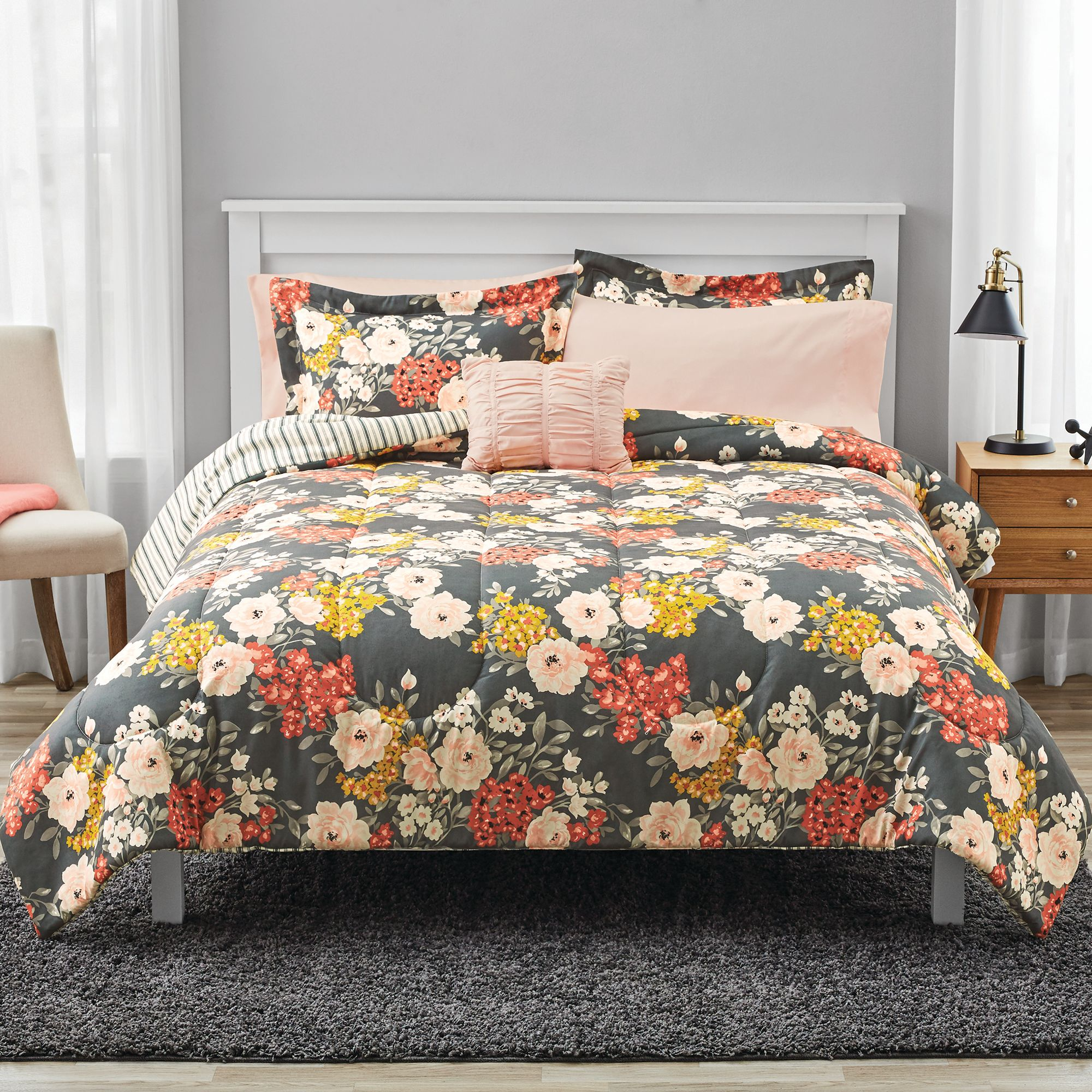 Mainstays Grey Floral Bed In A Bag Comforter Bedding Set