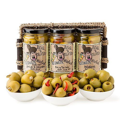 Holiday Party Gourmet Spicy Redneck Beer 'n Olives Martini Cocktail Olive Sampler Gift Basket