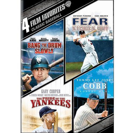 4 Film Favorites  Classic Baseball   Bang The Drum Slowly   Fear Strikes Out   The Pride Of The Yankees   Cobb