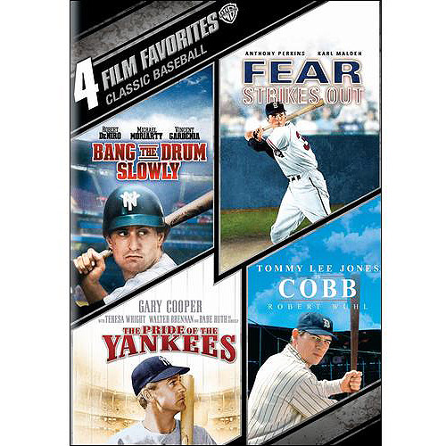 4 Film Favorites: Classic Baseball - Bang The Drum Slowly / Fear Strikes Out / The Pride Of The Yankees / Cobb