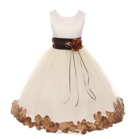 Kids Dream Little Girls Ivory Chocolate Floral Petal Flower Girl Dress