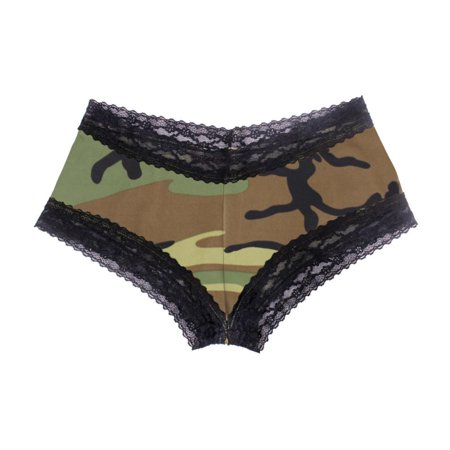 Rothco Women's Lace Trimmed Camouflage Booty Shorts, Woodland Camo, S