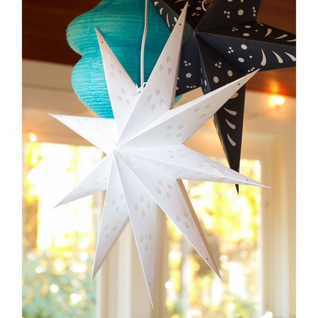Paper Star Lantern (24-Inch, White, Nova Design) - For Home Decor, Parties, and Holiday Decorations (Star Paper Lantern)
