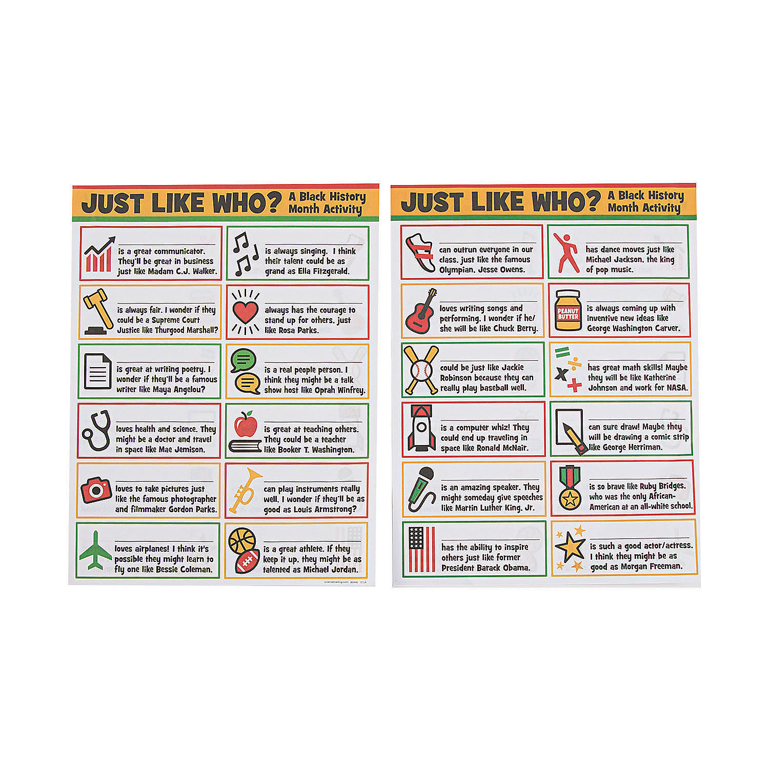 IN-13820120 Black History Month Activity Mats By Fun Express