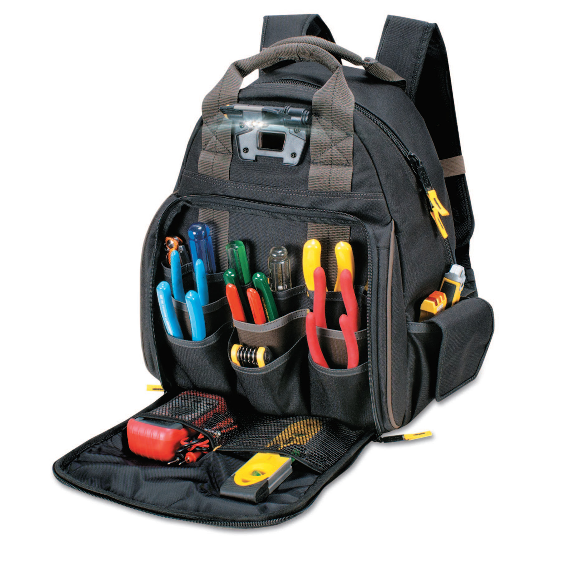 CLC Custom Leather Craft Tech Gear Lighted Backpack, 53 Compartments, 16 in X 13 in
