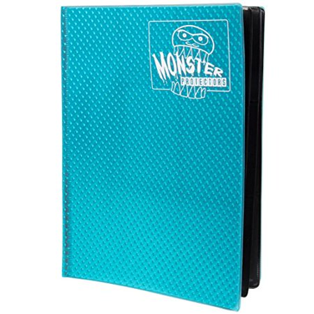 Monster Binder - 9 Pocket Trading Card Album - Holofoil Aqua Blue- Holds 360 Yugioh, Magic, and Pokemon